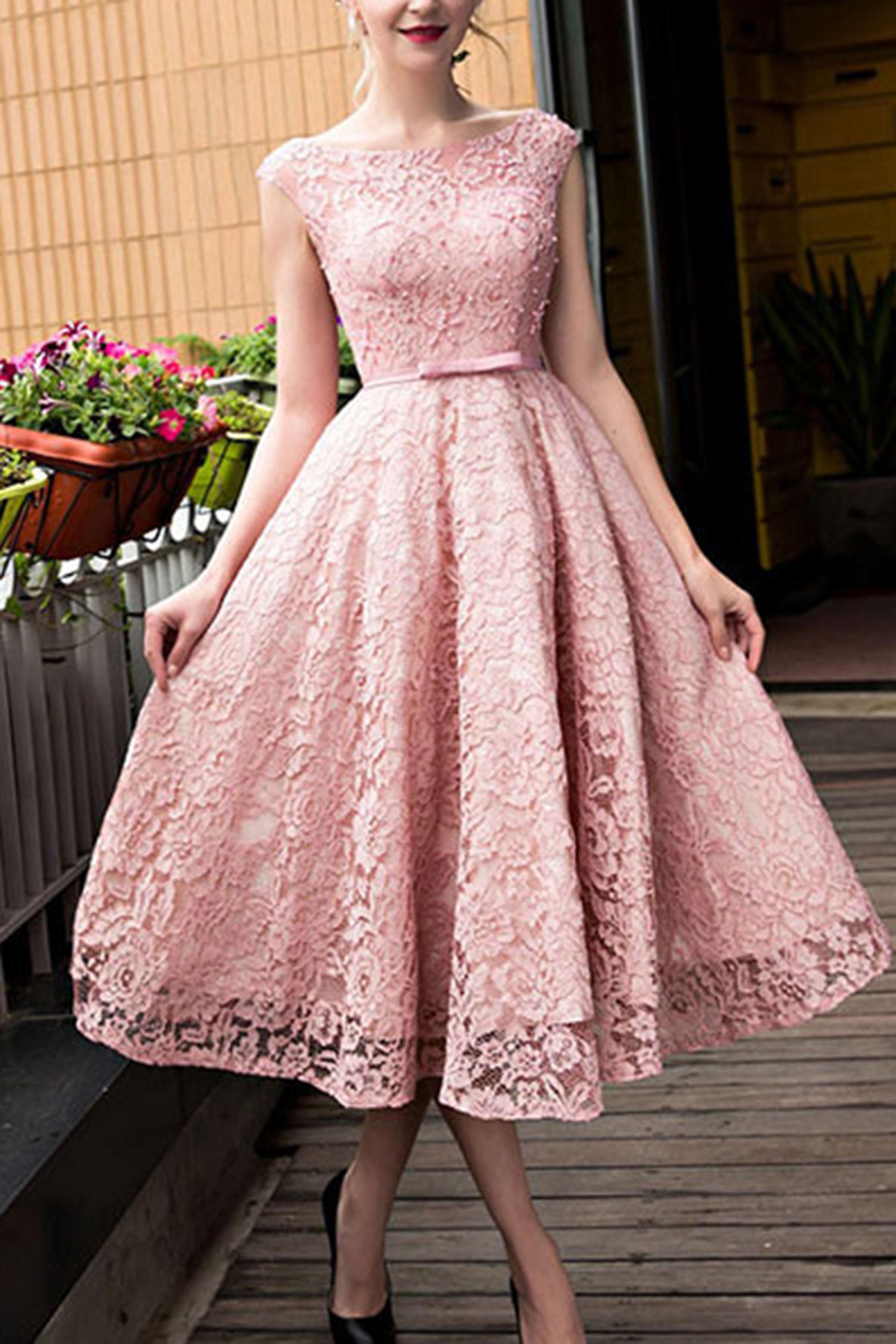 A-line Princess Tea-length Pink Cute Sleeveless Empire Bateau ... 6b8a21ed8