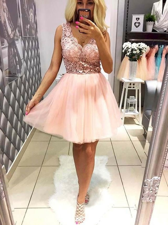 717438069b9 Pink Short V Neck Homecoming Dresses for Junior · dressydances ...