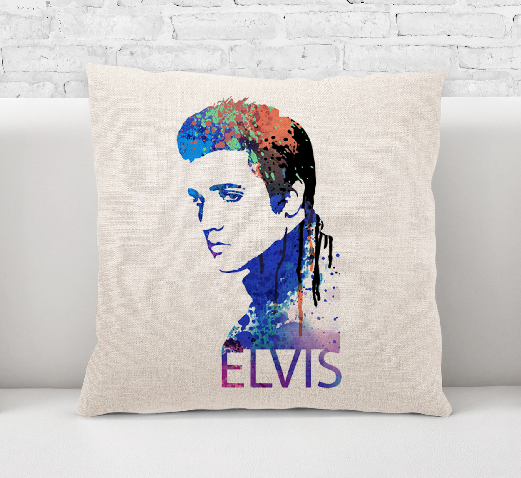 Throw Pillow CaseCushion Cover Elvis Presley Rock And RollRock MusicLegend-50s Singer Painting Art 0488