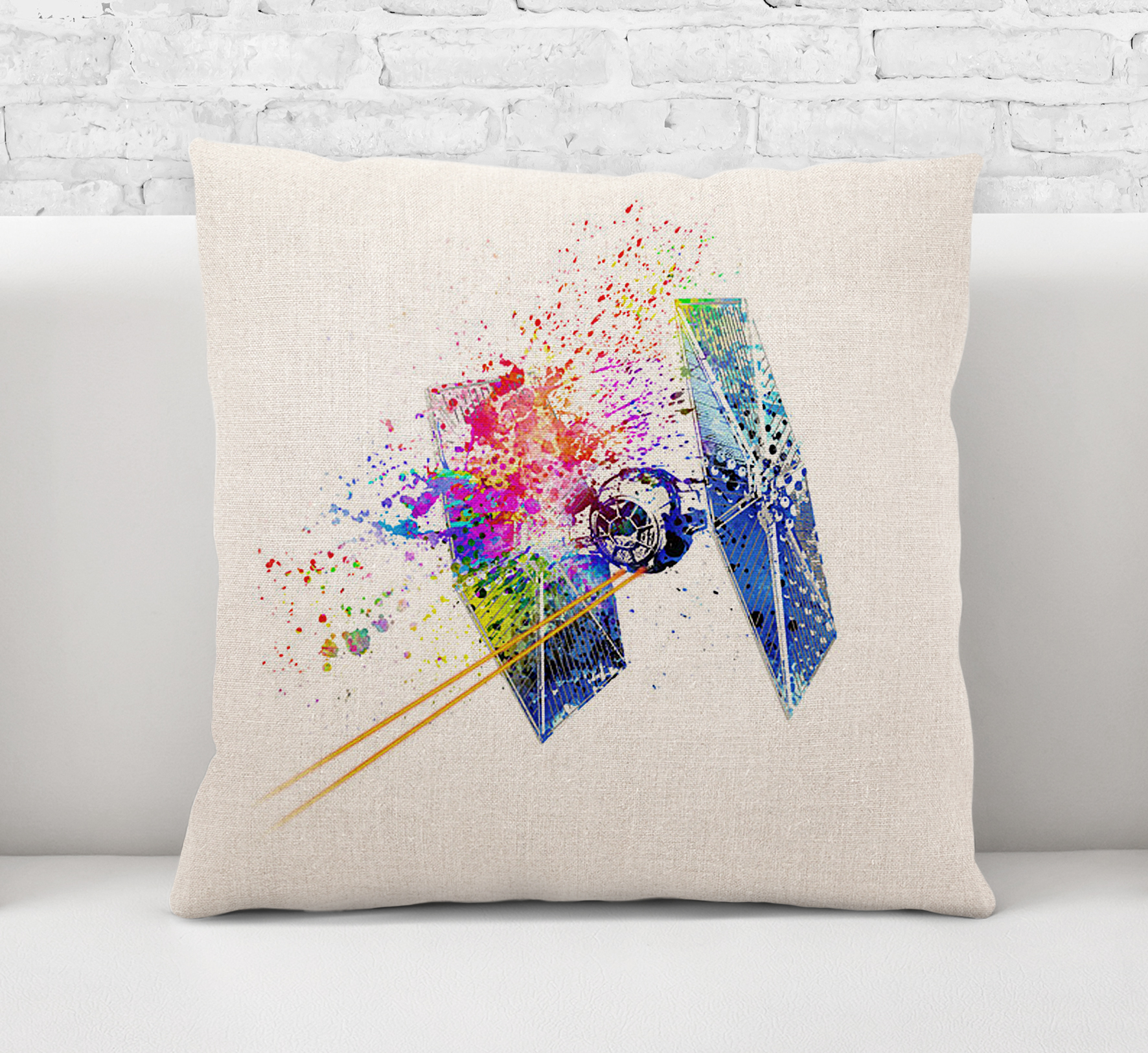 Throw Pillow CaseCushion CoverTie Fighter Star Wars Watercolour Painting Art0565