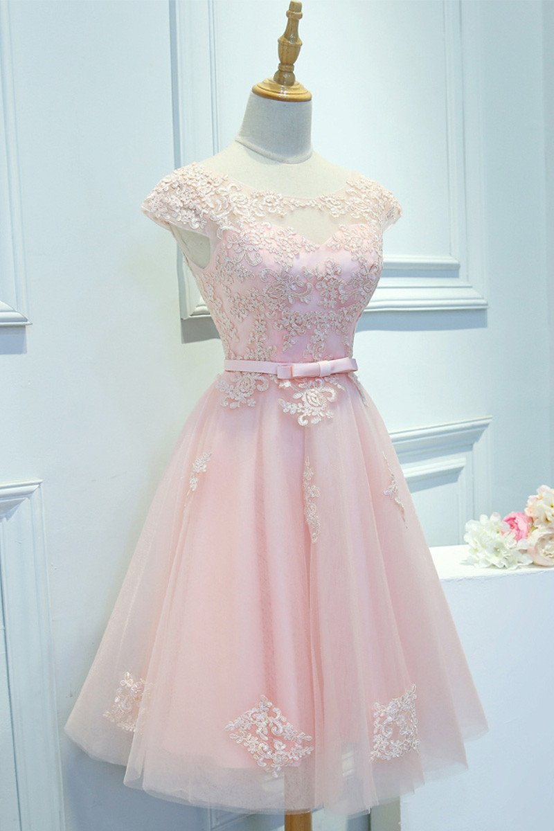 Light Pink Homecoming Dress,Short Prom Dress,Back To School