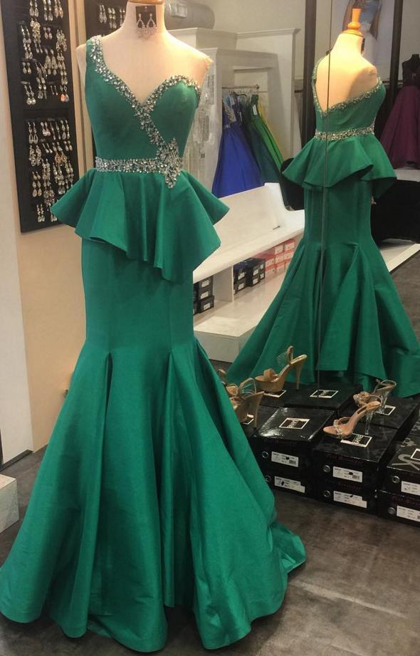 Emerald Satin Mermaid One Shoulder Evening Dress Long Ruffled ...