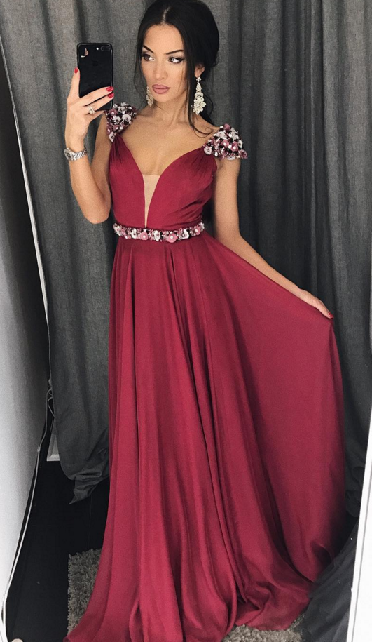 Burgundy Chiffon Illusion V neck Long Prom Dress with Beaded Flowers ...