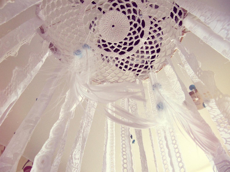 Image of: Bohemian Dreamcatcher Mobile Baby Crib Mobile Newborn Gift Hippie Bedroom Decor White Lace Mobile Boho Nursery Decor Sold By Icatchurdream On Storenvy