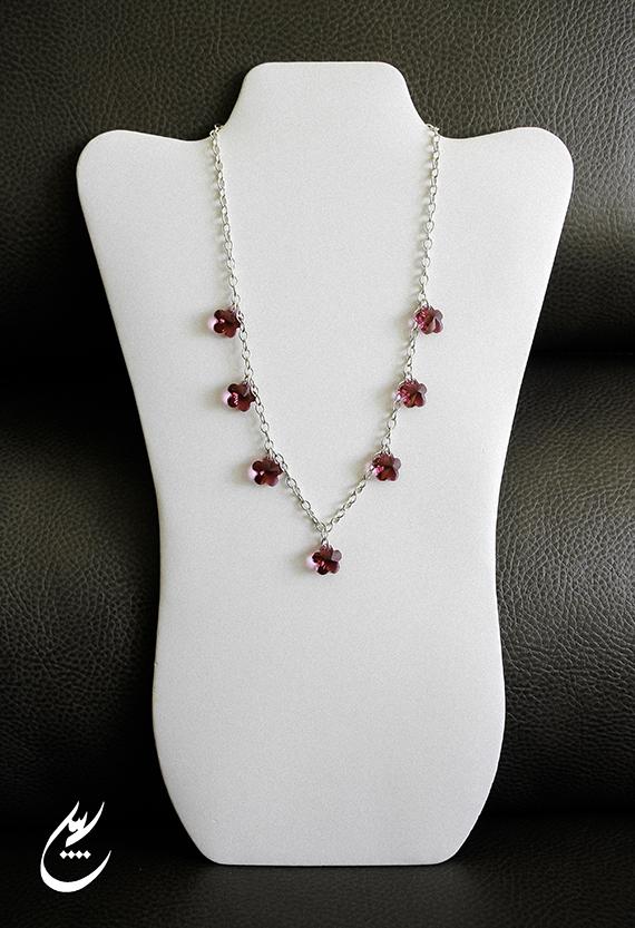 Fuchsia Pink Swarovski Crystal Flowers NecklaceSterling Silver Chain NecklaceBridal JewelryModern Style Necklace