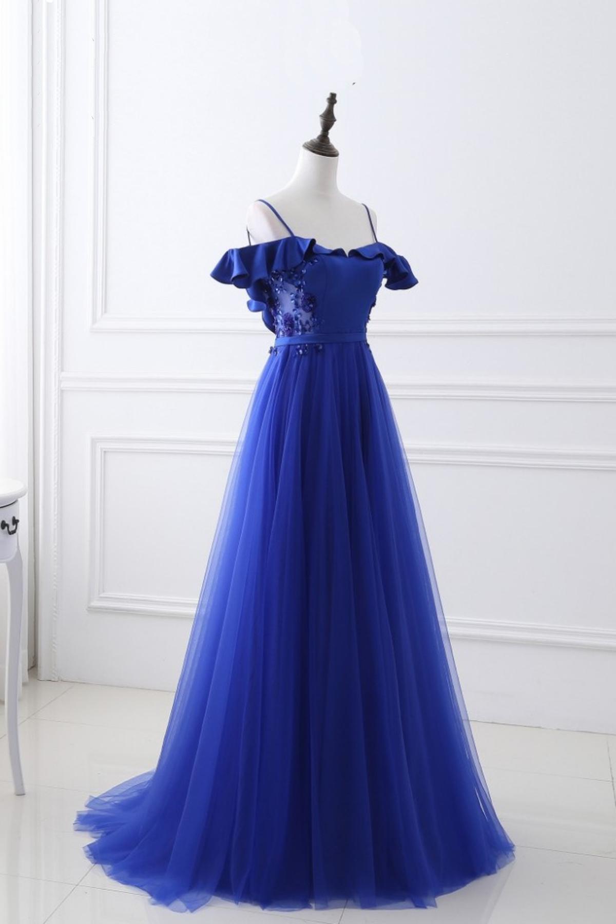 a75cd98ce42 Gorgeous spaghetti straps royal blue prom dresses 2017 tulle elegant evening  party dress vestido formatura longo