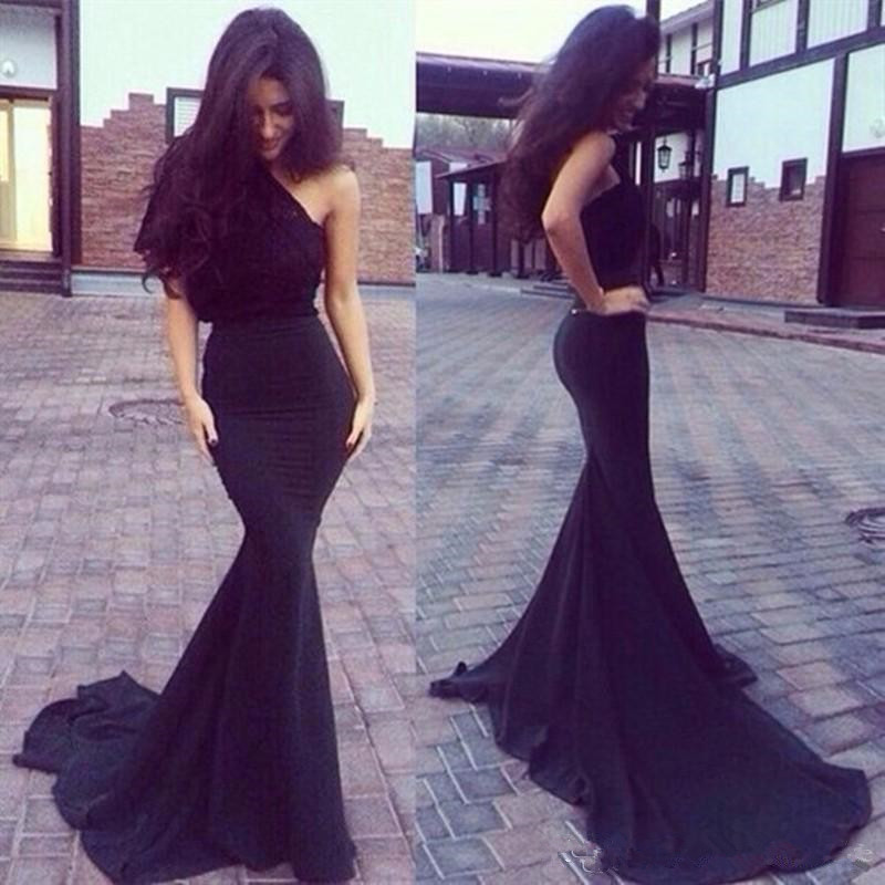 Black Pleated Chiffon One Shoulder Long Fitted Jersey Prom Evening Gown Formal Dress