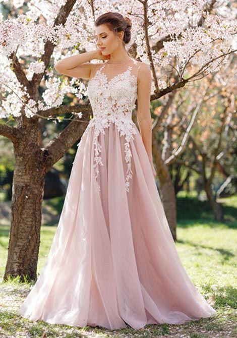 10ca7635cb6 Romantic A-line O-neck Pink Long Lace Appliques Prom Evening ...