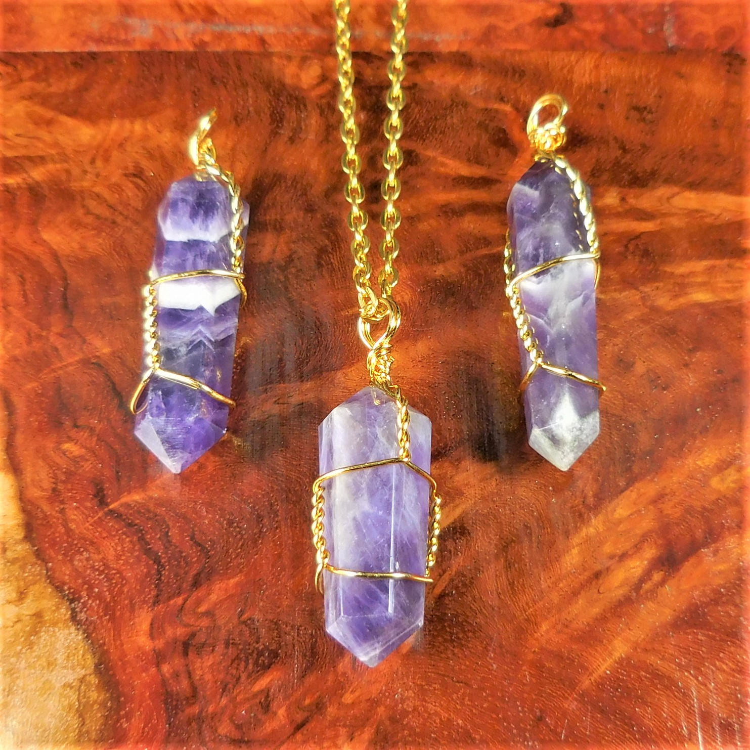 Amethyst Necklace Purple Crystal Point Pendant Gold Wire Wrapped Gemstone