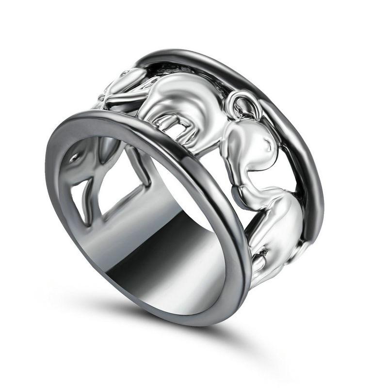 Unisex  Elephant Band  925 Sterling Silver & Black Titanium