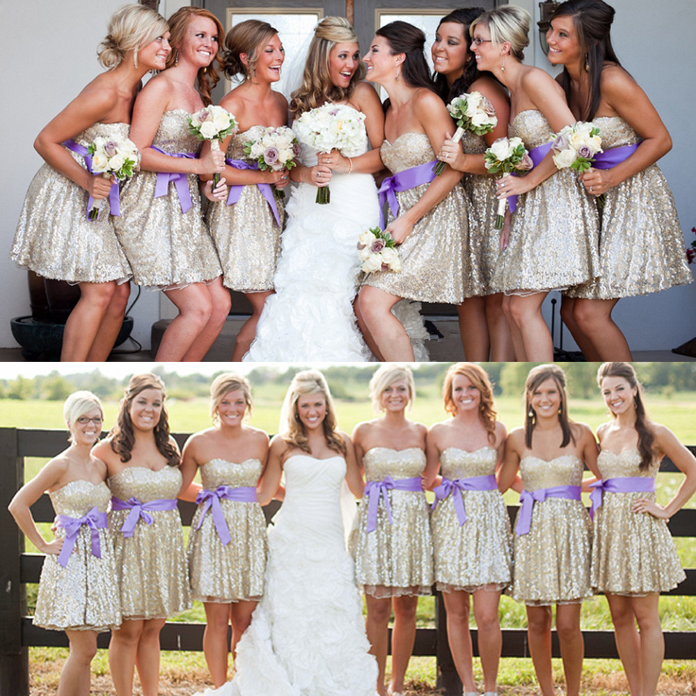 A314 Sequin Bridesmaid Dress,Short Bridesmaid Gown,Sequined ...