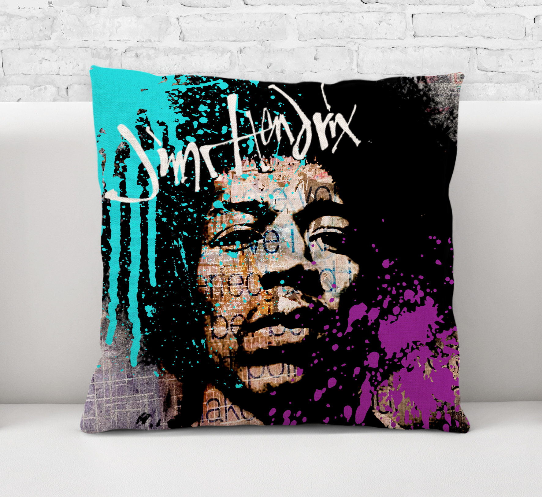 Throw Pillow CaseCushion Cover Jimi HendrixRock And RollRock MusicLegendGuitarist Painting Art E018