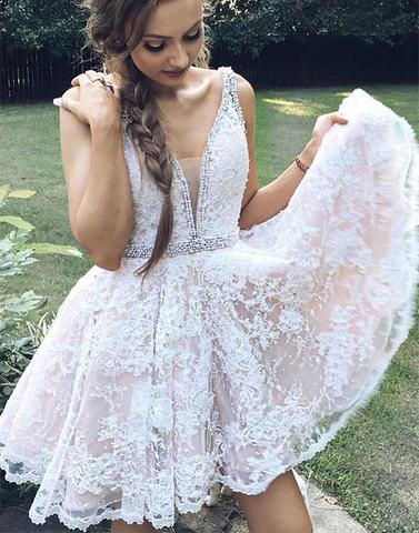 d3b5ee19e3a10 Cute v neck white lace short prom dress, lace homecoming dress ...