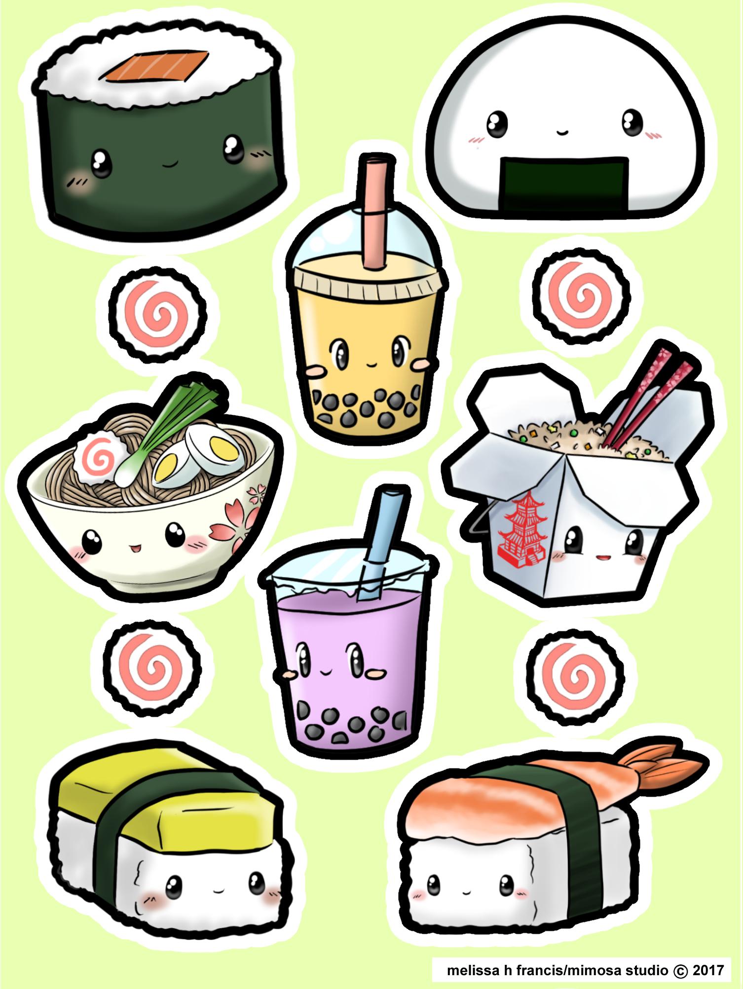 Oriental food sticker sheet