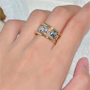 Unisex  Elephant Ring Band  10k Gold Filled & Sterling Silver