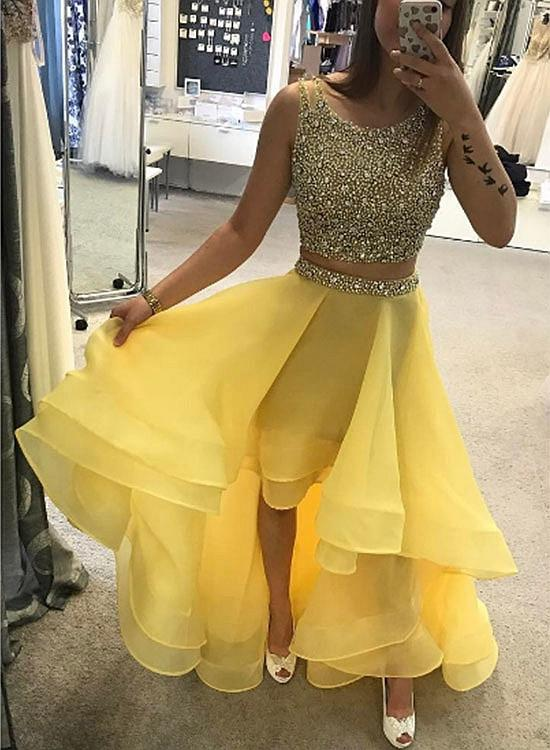 79e27240a829 A248 Luxurious A-Line Two-Piece High Low Yellow Prom Homecoming ...