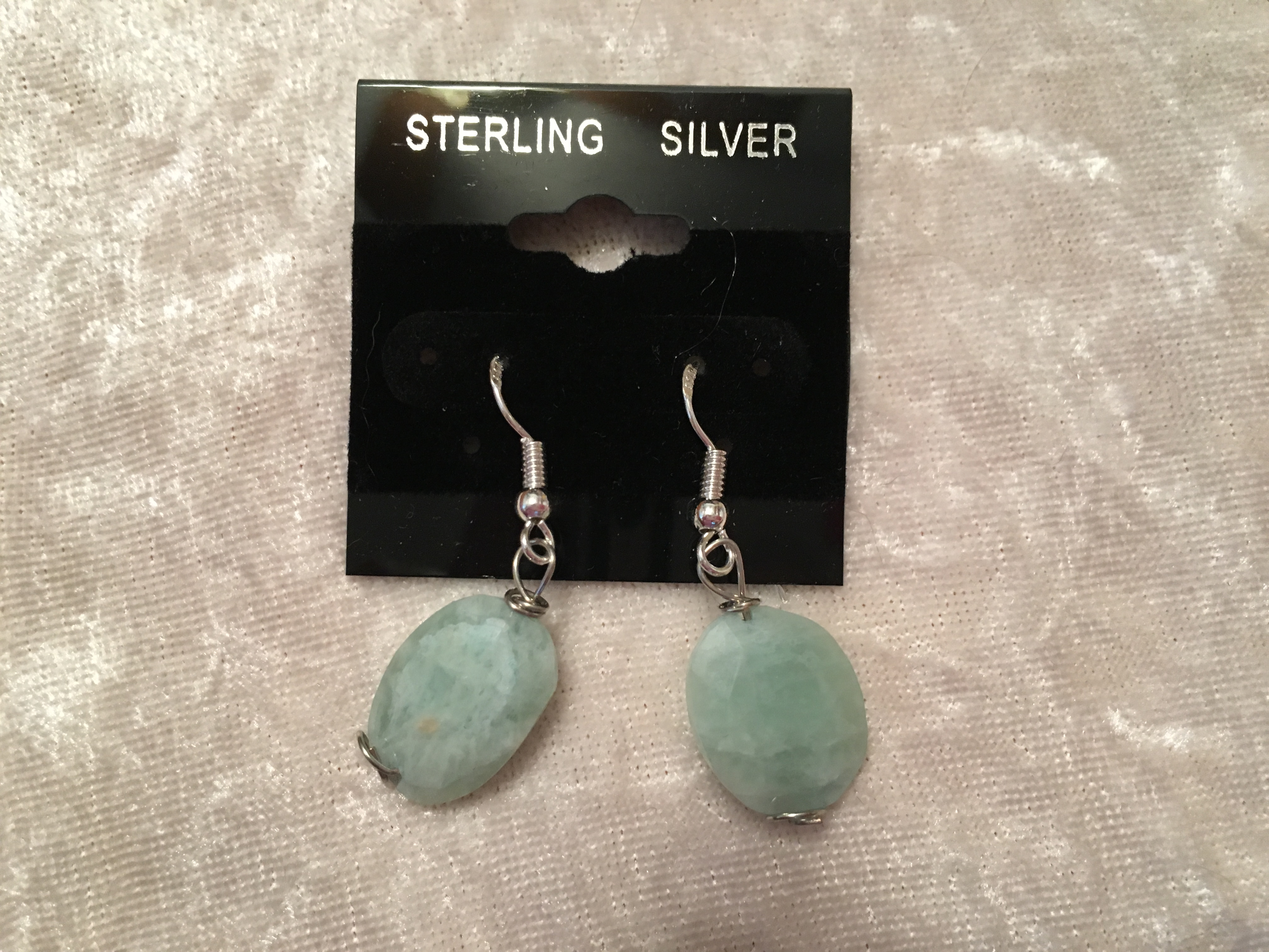 Natural Blue Opal Gemstone Faceted Oval .925 Sterling Silver Dangle Earrings