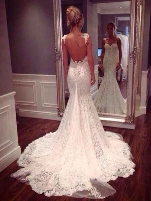 Sheath/column Bateau Sweep/brush Train Sleeveless Tulle Wedding Dress # Vc1245