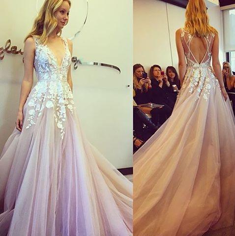7e05aa798b A line V-neckline Lilac Wedding Dress