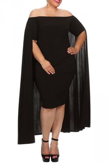 Womens Off Shoulder Plain Cape Midi Plus Size Dress Black