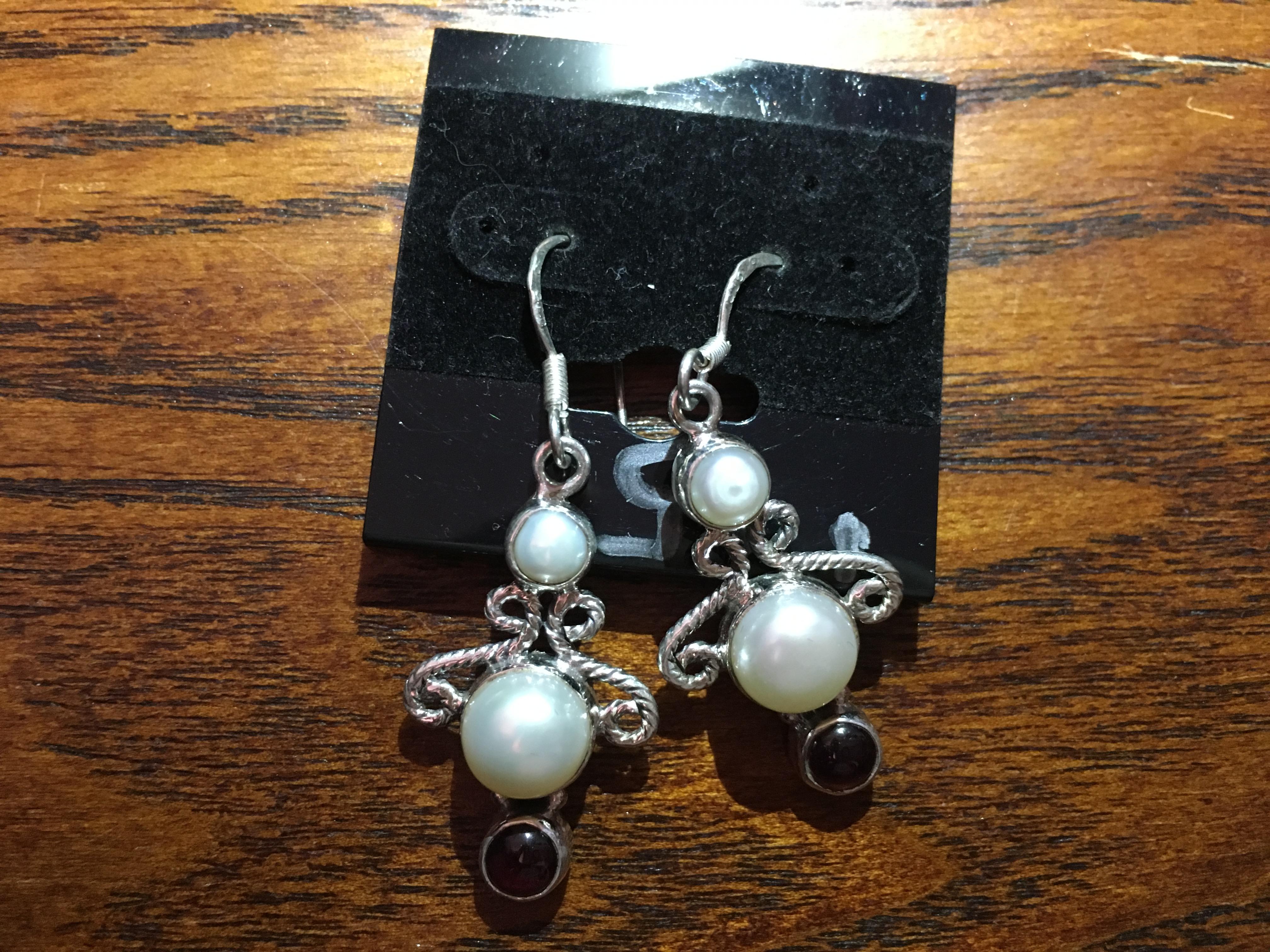 Garnet And Pearl Gemstone And .925 Sterling Silver Dangle Earrings