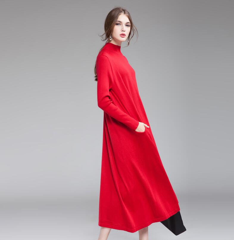 2017 Fall Fashion Slim High Necked Long Sleeve Womens Long Sweater Knit Dress Red Wholesale