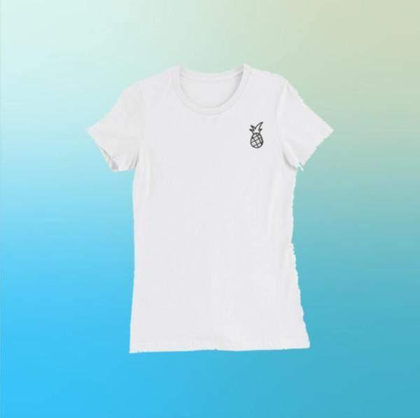 Black And White Pineapple Tee Womens Slim Fit T-shirt