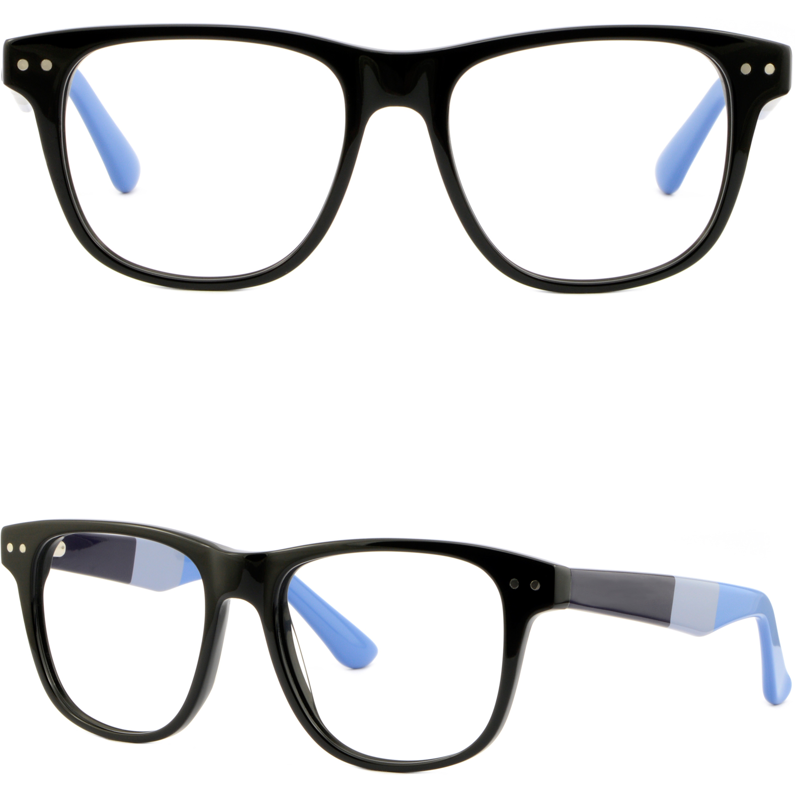 Oversized Black Square Mens Plastic Frame Wide Glasses Silver Dots Spring Hinges