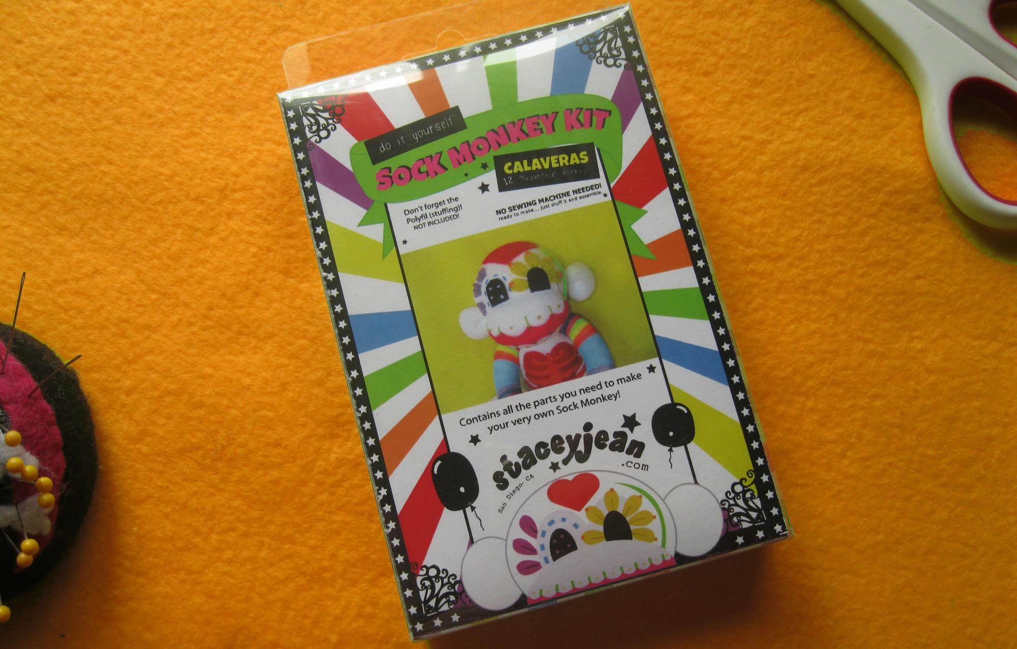 Rainbow Sugar Skull Sock Monkey Diy Kit White Body Plush Doll Make It Yourself No Sewing Machine Needed!