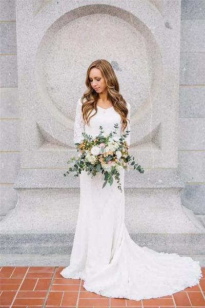 60fb845e8551 A458 Vintage Modest Wedding Dresses With Long Sleeves Bohemian Lace Chiffon Wedding  Gowns Country Wedding Dress