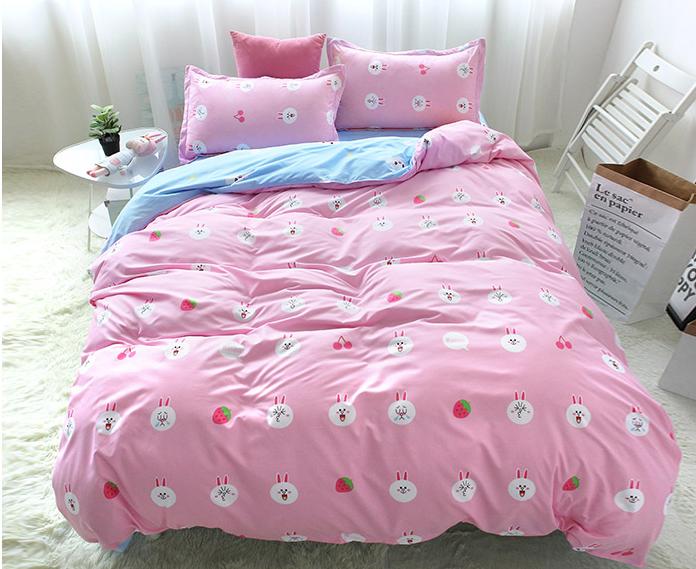Pink Rabbit Strawberry Bed Sheet Set 4 Pieces