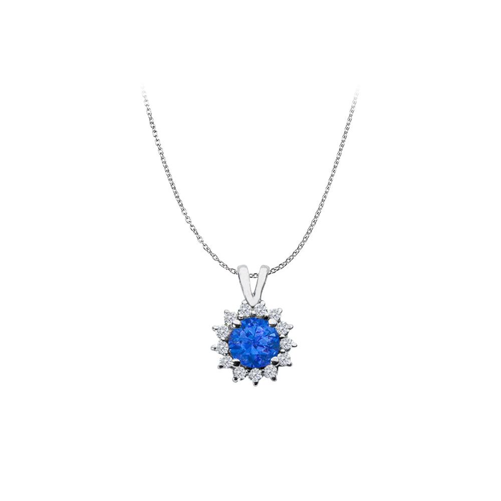 Fjv Round Sapphire And Cz Halo Pendant 925 Sterling Silver