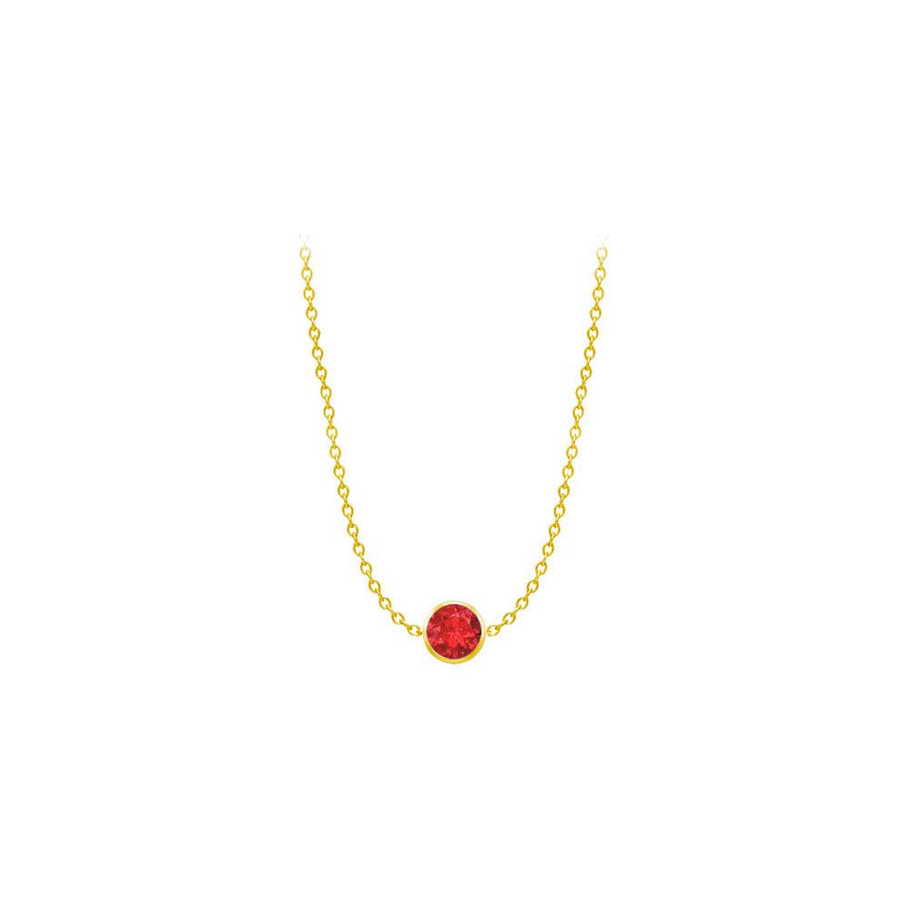 Fjv Diamond By The Yard Gf Bangkok Ruby Necklace On 14k Yellow Gold Bezel Set 2.00 Ct.tw