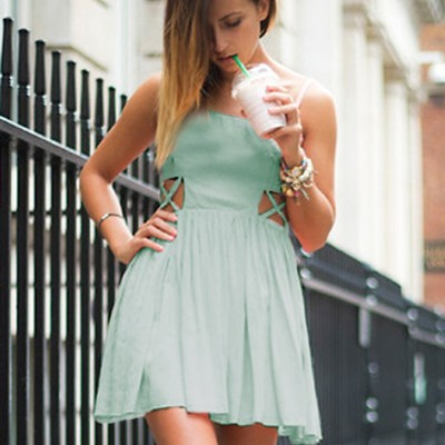 a0339fa395d A334 simple a-line spaghetti straps short mint green chiffon homecoming  dress cut out -