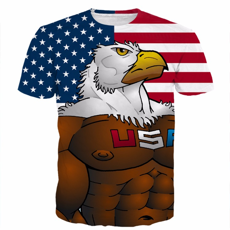 Usa American Flag Hawk Cartoon Muscle Eagle Full Print 3d T-shirt
