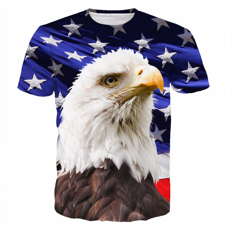 Usa American Flag Hawl Eagle Blue Full Print 3d T-shirt