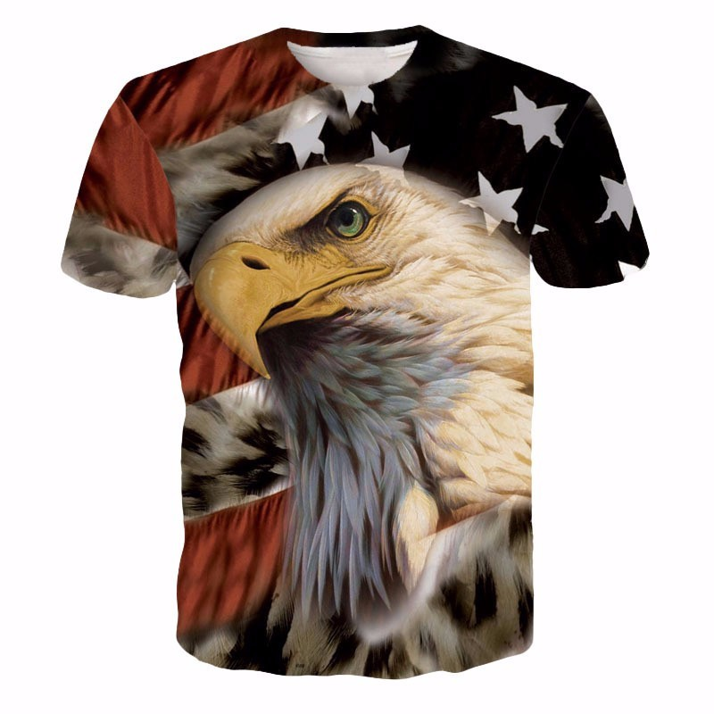 Usa American Flag Hawk Eagle Classic Trendy 3d Full Print T-shirt