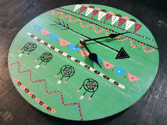Primitive Art Boho Wall Clock Boho Wall Decor Native American Tribal Decor Bohemian Home Decor Hippie Decor Gypsy Wooden Clock From