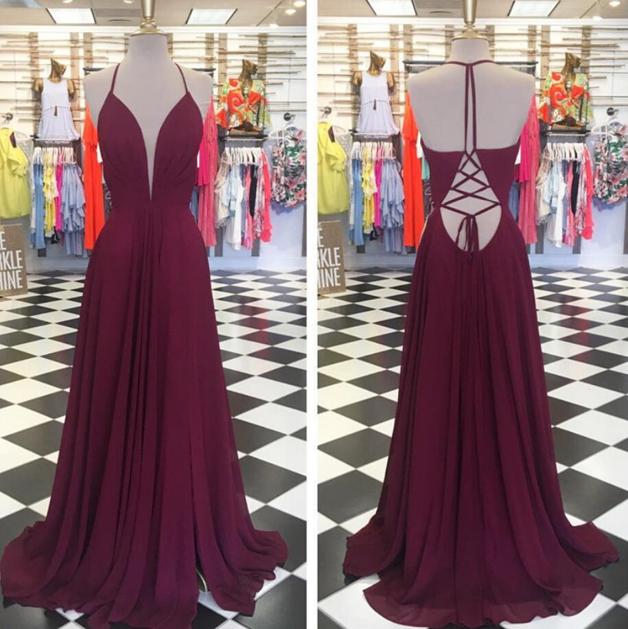 A Line V Neck Long Chiffon Burgundy Formal Elegant Simple Prom Dress-cross Back Prom Dress With Side Split-a Line Chiffon Sexy Long Evening Gown