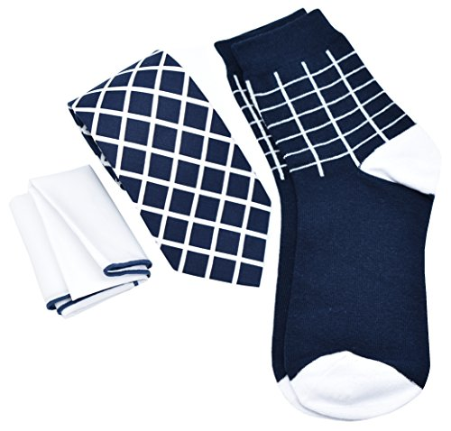 Kingsquare Mens NecktieSockAnd Pocket Square Set In Gift Box (navy Blue)