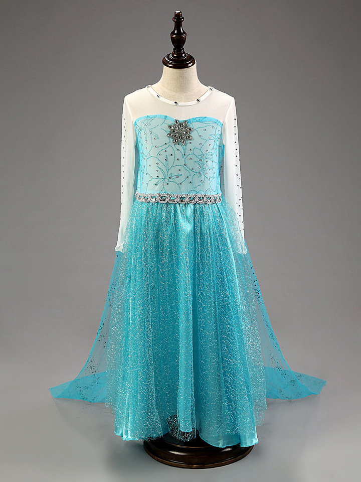 8d61ac97c5aad Disney Frozen Inspired Elsa Anna Costume Girl Dress, Sky Blue Halloween  Cosplay Party Dresses #