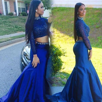 Heavy Beaded Two Pieces Blue Mermaid High Neck Natural Zipper Floor-length Satin Prom Dresses With Sleeves-two Pieces Mermaid Blue Evening Gown