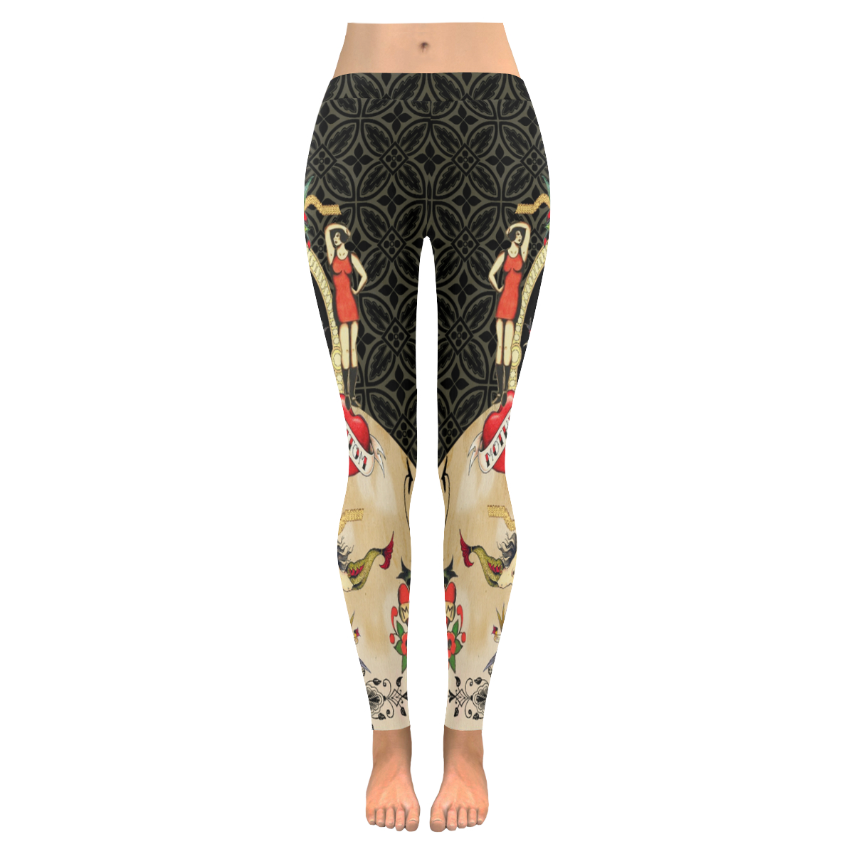 Funky Vintage Tattoo SkullRoses And Hearts Womens Low Rise Leggings