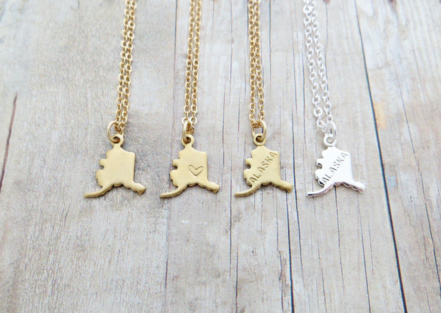 """Alaska State Charm Personalized Necklace (gold Or Silver) 18"""""""