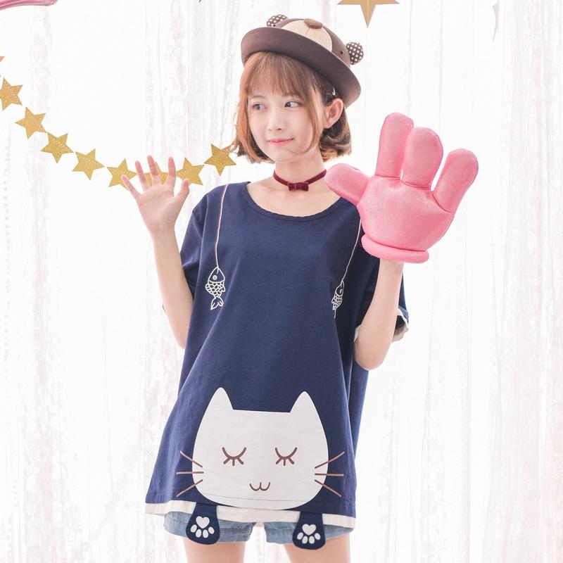 e7075a7a6 Kawaii Japanese Cat Fish T-Shirt Cute Patchwork Short Tee on Storenvy