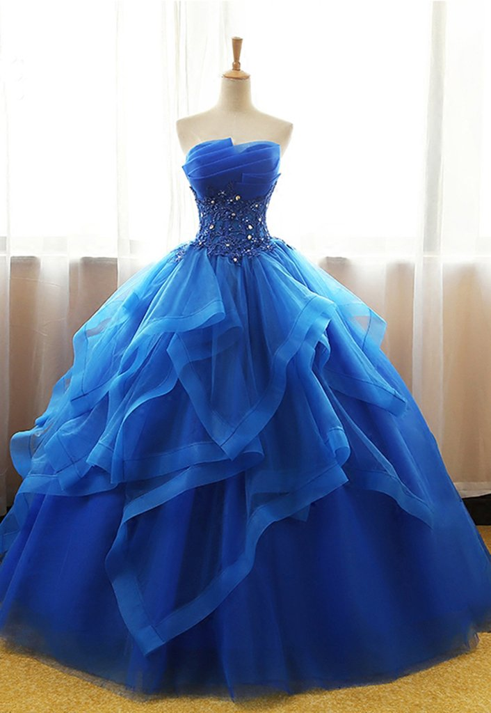 Sweetheart Strapless Ball Gown Royal Blue Prom Dress-long Royal Blue Tulle Ball Gown Evening Party Dress