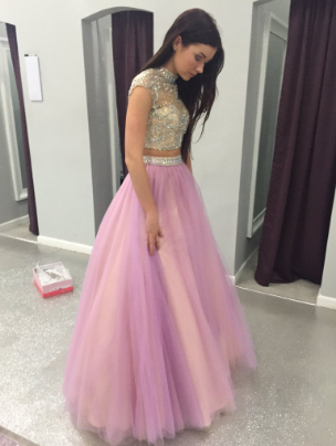a0554f4eebd Two Pieces Beading Tulle Long Pink Prom Dress
