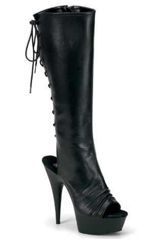 5 3/4 Spike Heel Platform Knee Boot Womens Size Shoe With Open Toe And Rear Lace-up