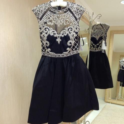 Black Prom Dresses-short Evening Dresses-short Formal Dresses-women Summer Dresses-bridesmaid Dresses-beading Bridal Gown-prom Gowns-pd380034