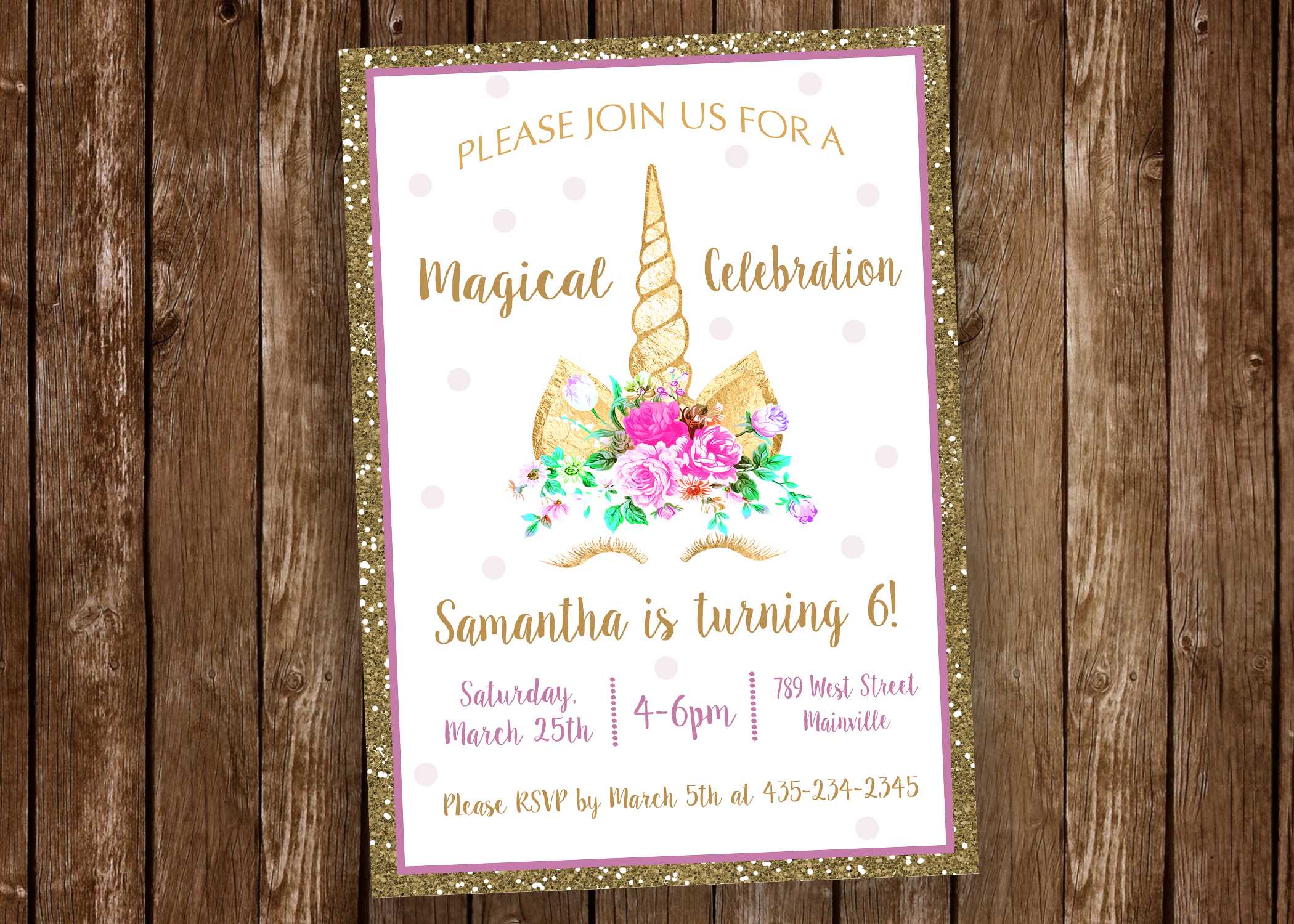 Unicorn Birthday Party Invitation, Unicorn, Flora, Unicorn Eyes ...